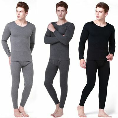 AU 2pcs Mens Winter Warm Thermal Underwear Tops Bottom Long Johns Pants Suit Set