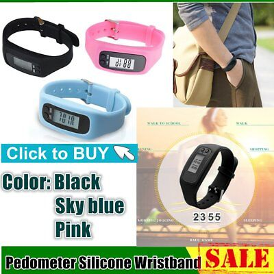 Pedometer Sports Monitor Running Exercising Step Counter Silicone Wristband ZI