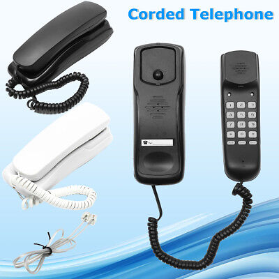 White/Black Wall Mount Home Hotel Office Corded Phone Telephone Flash Redial