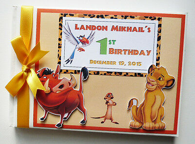 Personalised Disney Lion King Boy/girl /first/1St Birthday Guest Book Any Design