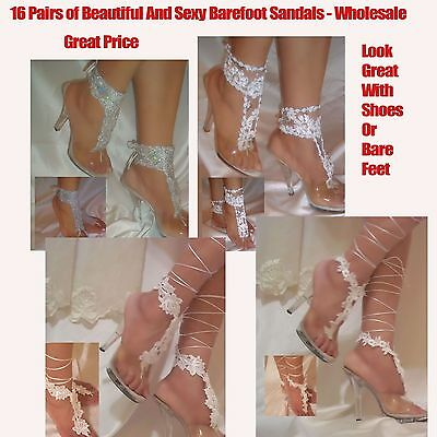 Women's Fashion 16 Pairs of Beautiful Barefoot Sandals, Bride Sandals Wholesale