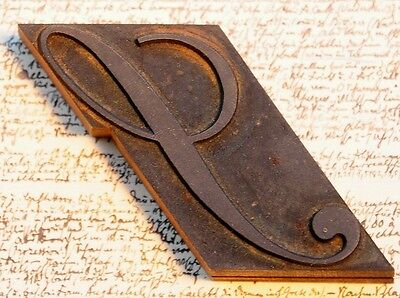 letter: S fancy wood type printing block woodtype font letterpress antique print