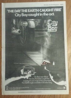 City Boy day the earth caught 1979 press advert Full page 28 x 39 cm mini poster