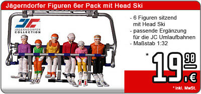 Jägerndorfer Collection Figuren 6er Pack mit Head Ski sitzend 1:32