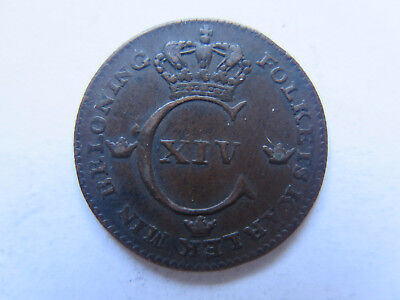 1825 SWEDEN 1/4 SKILLING COPPER COIN in EXCELLENT CONDITION