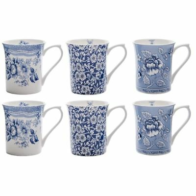 Queens - Blue Story Fine Bone China Mug 200ml Set of 6