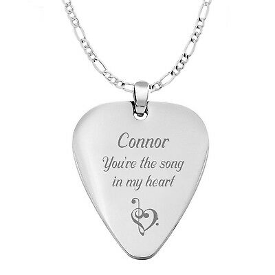 Personalized Silver Stainless Steel Guitar Pick Necklace Pendant Engraved Free