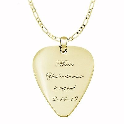 Personalized Gold Stainless Steel Guitar Pick Necklace Charm Pendant Engraved