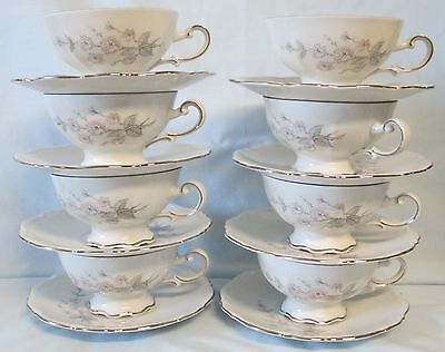 Mitterteich Fragrance Cup and Saucer Platinum Trim set of 8