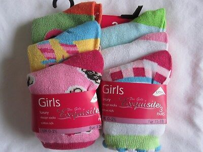 "Bnwt -6 Girls ""Exquisite"" Ankle Socks -Various Colours And Designs- 0-2.5- Lot 2"