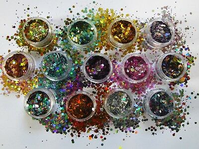 Festival Glitter Mix Chunky Cosmetic Mix Face Eye Body Hair 10 pots from 54p ea
