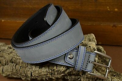 Cinturon Hombre Cuero Genuino 35 Mm Nubuk Artesanal Ma Leather Men Belt Gris