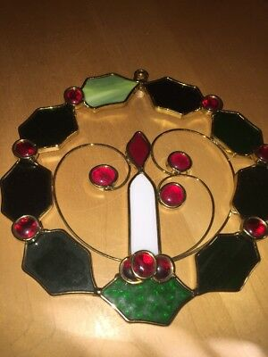 Christmas Wreath Candle Sun Catcher Stained Glass Window Hanging Red Flame
