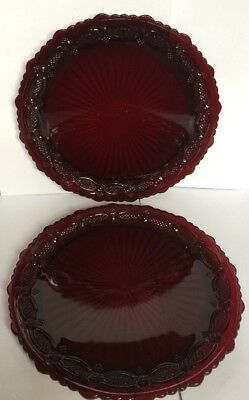 "Two Vintage Avon 1876 Cape Cod Ruby Red Cranberry 10 3/4"" Dinner Plates Exc!"