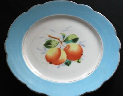 Vintage Plate With Peaches & Blue Rim