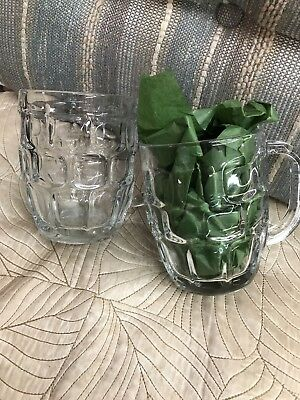 2 Clear  Classic Beer Mug Dimple Stein Glass Heavy Duty Pub Bar Style Cup