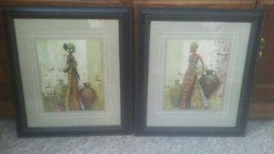 Two Beautifully Framed & Matted  Prints - African Woman / Africa  Ethnic Art