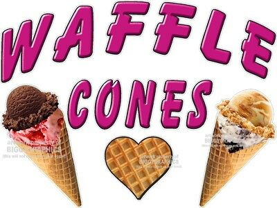 Waffle Cones Ice Cream  Vinyl Decal (Choose A Size) Stands Boardwalk Shops