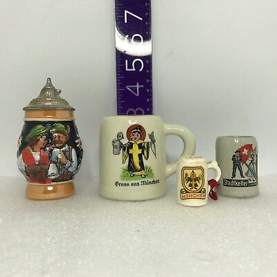 4 FOUR, VIntage MINIATURE German Steins, Poor to Very Good Used Condition.