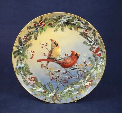 JEWELS IN THE SNOW Collectors Plate 2nd In The Winter Garlands Series Cardinals