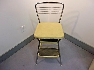 Vtg Cosco Flip Seat Step Stool Chair Chrome/ Yellow Vinyl Steampunk Industrial