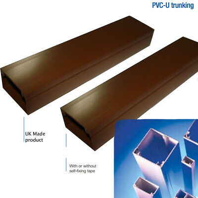 Brown Self Adhesive PVC Plastic Electrical Mini Trunking Cable Tidy - 1 Meter