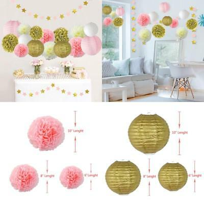 Pink &Amp; Gold Party Decorations With Pom Poms Flowers Kit Star Paper Garland