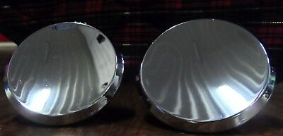 "2 Vtg Large Round 2"" Silver Metal Knobs Concave Dished Atomic Beveled Edge Cool"