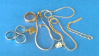 Small lot of scrap 14K Gold and Sterling Silver Jewlery