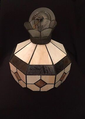 Vintage ~Two Tone Leaded Stained Glass & etched Hanging Ceiling Light Lamp Shade