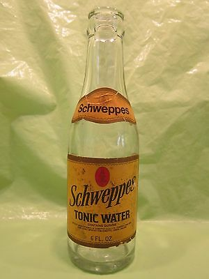 Schweppes Quinine Tonic Water Six Ounce 1962 Glass Bottle Paper Label Returnable