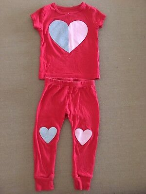 Carters Baby Girl 12 Months Heart Valentines Red Pajamas 2pc Pjs