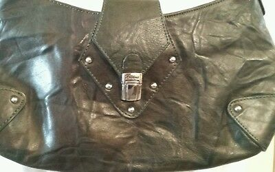 Christina Distressed Green Leather Shoulder Handbag Made In Italy