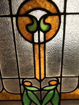 Beautiful Antique Arts & Crafts American Colored Stained Glass Floral Window
