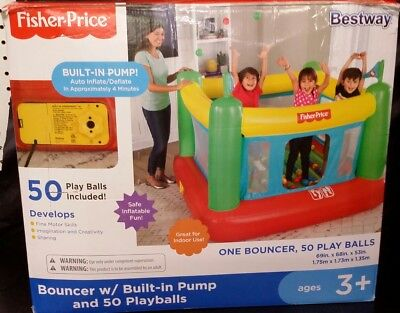 INFLATABLE BOUNCE HOUSE Jumping Castle Built In Pump Kids Gift 50 PLAY BALLS