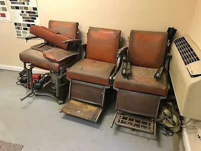 3 Antique Belmont Barber Chairs