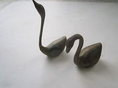 Vintage Pair Of Solid Brass Swans Statue Figurines 5 1/2 and 3 1/2 inches