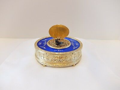 Antique Guilloche & Enamel Singing Bird Box Automaton Music Box (Watch Video)