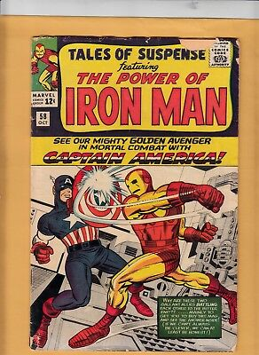 Tales of Suspense #58 1964 Marvel Comic Captain America vs Iron Man 2nd Kraven