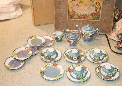 Little Hostess Set Japan original box 21 pc Flowers Porcelain blue Vintage 1930