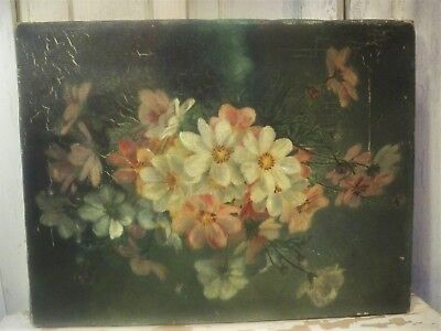 Vintage Shabby FARMHOUSE Chic Pink & White FLORAL Oil Painting  A+ IMPERFECTION