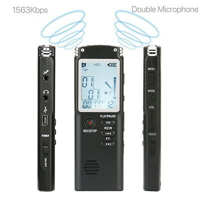 MP3 Player Digital Audio Voice Sound Recorder 650 hr Rechargeable Dictaphone 8GB