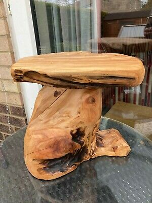 Teak Tree Root Side Table Coffee Carved Wood Reclaimed Plant Cake Stand Smooth