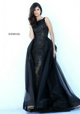 AUTHENTIC Sherri Hill 50768 Pageant PROM Formal Gown (black nude Size 10)