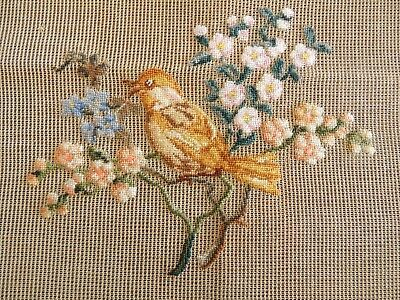 Large Vintage Or Antique Needlepoint Petit Point Yellow Bird Canvas To Complete
