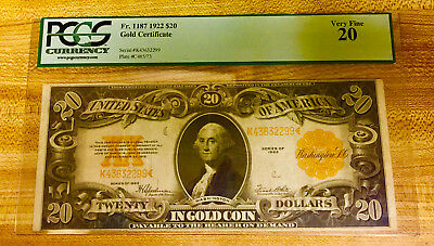 PCGS Large $20 Gold Certificate 1922 - Very Fine VF 20