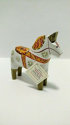 Antique Swedish Dala Horse WHITE / GREEN Art Wood Carving Grannas A. Olssons
