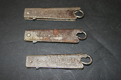 3 1903  Folding Button Hook DE MUTH & CO CHICAGO ECKERT PITTSBURGE AND BLANK