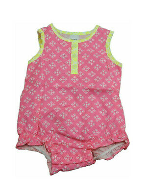 Carters Baby Girls Sleeveless Romper, Pink/White/Yellow