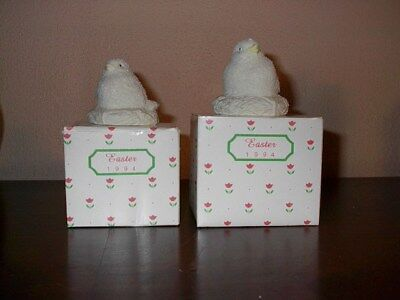 Dept 56 Snowbunnies 2 EASTER CHICKS IN NEST Bisque Porcelain 1 SMALL 1 LARGE NEW